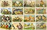 Vintage Victorian Easter Cards Collage Sheet # 104 For Art, Scrapbooking, Altered Art