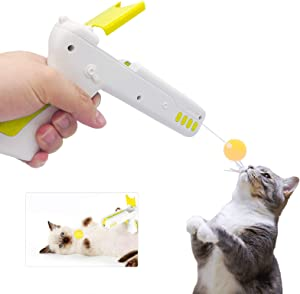 BEITESTAR Puzzle Interactive Cat Toy for Indoor, Rebound Interactive Cat Teaser Gun, Plush Interactive Cat Stuff, The Latest Updated Pet Toy, A New Way to Exercise for Cats. (Yellow)