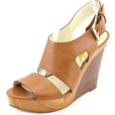 46dd22401002e Michael Michael Kors Carla Platform Wedge Women US 10 Tan Wedge Sandal