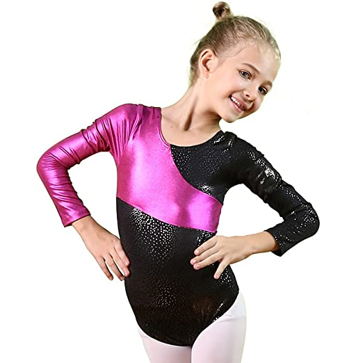 BAOHULU Gymnastics Leotards for Little Girls Stiching Ribbons One-Piece  Dance Outfit 378c94874cca8