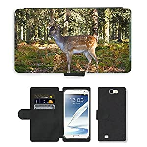 Super Stella Cell Phone Card Slot PU Leather Wallet Case // M00144738 Red Deer Wild Hirsch Antler // Samsung Galaxy Note 2 II N7100