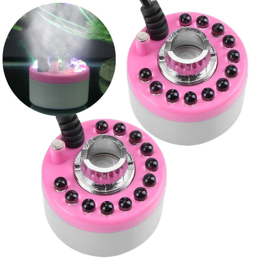 Fountain Mist Maker, 2Pcs 300ml/h Multi-color Fish Tank Mist Maker Foggers with LED Light Power Adapter for Fountain Pond pond Rockery Sterilizing and Dedusting (Pink)