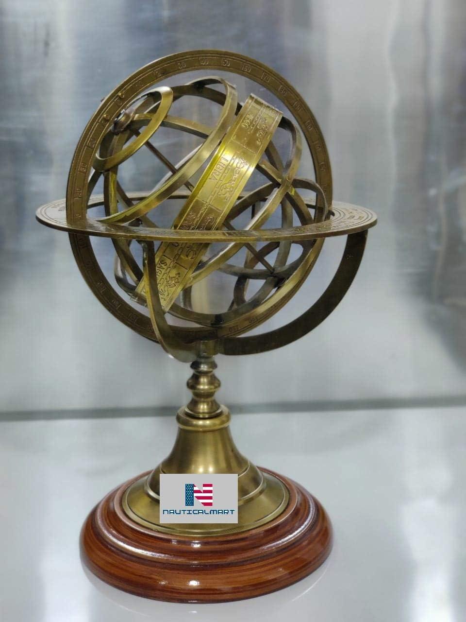 "Nautical-Mart Antique Vintage Armillary Brass Sphere Globe Wooden Display | Pirate's Antique Ship Decor (11"")"