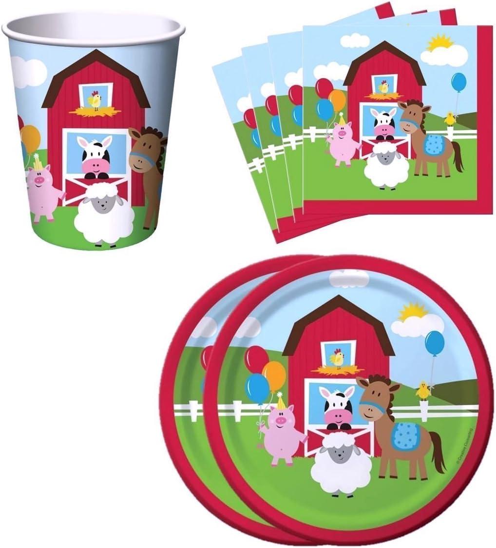 Farm House Fun Barnyard Animals Birthday Party Supplies Set Plates Napkins Cups Kit for 16 by Creative Converting AX-AY-ABHI-73640