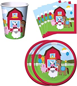 Farm House Fun Barnyard Animals Birthday Party Supplies Set Plates Napkins Cups Kit for 16 by Creative Converting
