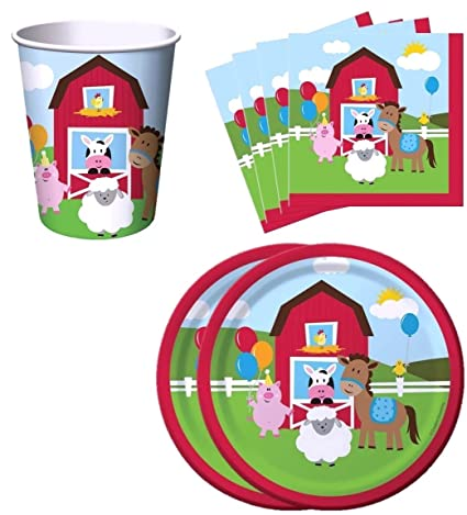 Farm House Fun Barnyard Animals Birthday Party Supplies Set Plates Napkins Cups Kit For 16 By