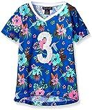 U.S. Polo Assn. Little Girls' Toddler Hummingbird and Floral Print Mini Mesh Football Shirt, Vintage Blue, 3T