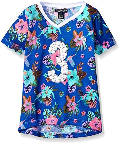 Polo Shirt Vintage Print (U.S. Polo Assn. Big Girls' Hummingbird and Floral Print Mini Mesh Football Shirt, Vintage Blue, 7/8)