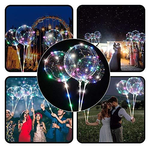 SiQing 5pcs LED Light Best Decoration Reusable Luminous Led Balloon Transparent Round Bubble Decoration Party Wedding (Multicolor A)]()
