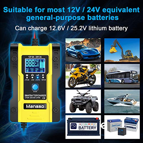 Mansso Car Battery Charger, 7 Stage Charging Intelligent Automatic Battery Charger & Maintainer Delivers, Use for…