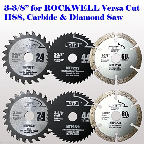 6x 3-3/8-inch Diamond / Wood/ Metal Circular Saw Blade for R