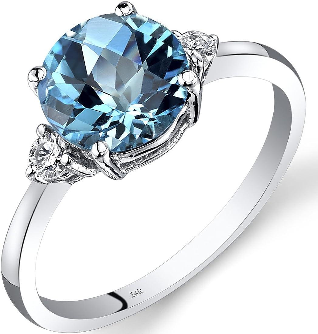 Amazon Com 14k White Gold Swiss Blue Topaz Diamond Ring 2 25 Carat Round Cut Jewelry