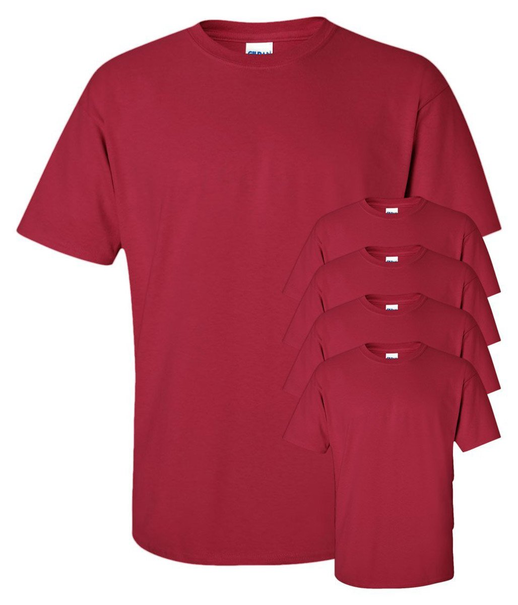 Gildan Men's Seamless Double Needle T-Shirt, Cardinal Red, L (Pack of 5)