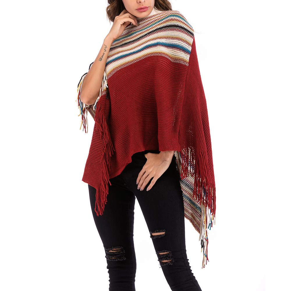 Womens rregular Knit Sweater, Clearance! AgrinTol Retro Fringe Cloak Shawl Matching Color Sweater at Amazon Womens Clothing store:
