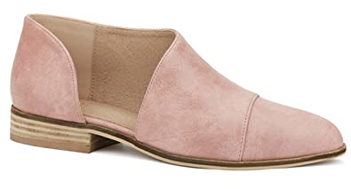 6f8355e4acb9 Amazon.com | Beast Fashion Carter-05 Women D'Orsay Slip On Pointy Cap Toe  Extreme Cut Out Ankle Flat Bootie | Oxfords