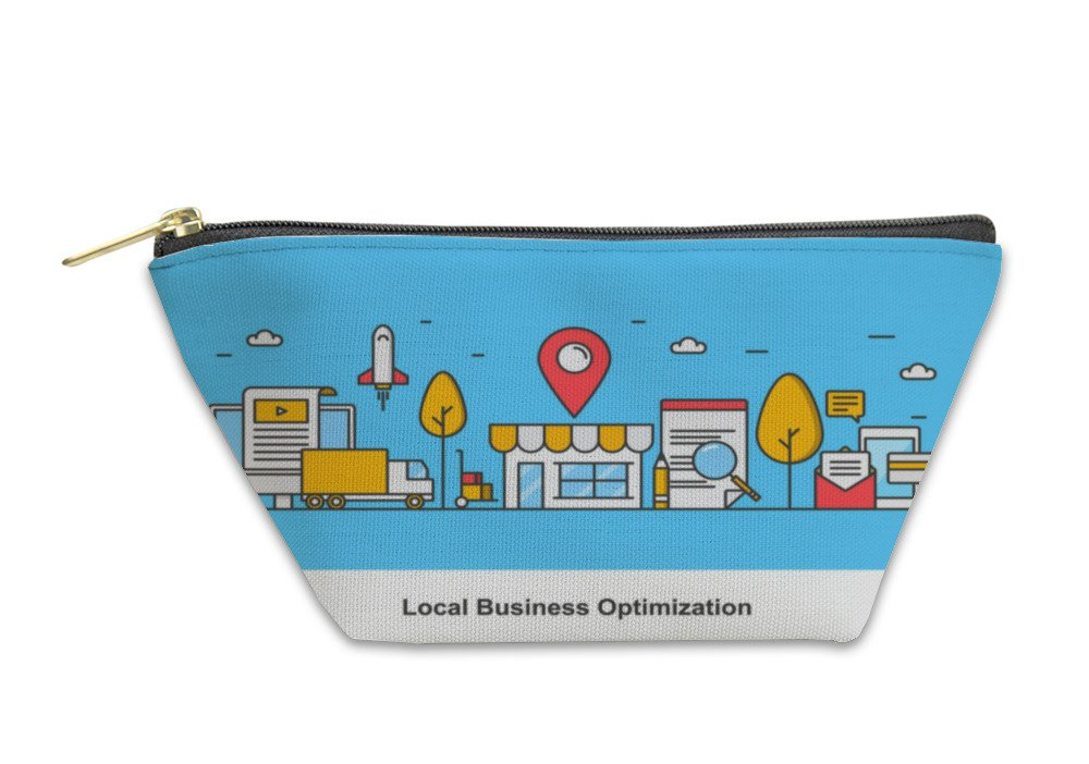 Gear New Accessory Zipper Pouch, Concept Of Local Business Optimization Optimizing Local Listing For Marketing, Small, 5811292GN