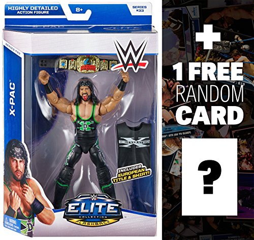 X-Pac w/ European Title & Shirt: WWE Elite Collection Action Figure Series + 1 FREE Official WWE Trading Card Bundle by WWE