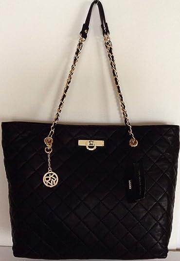 Amazon.com: Dkny Donna Karan Quilted Nappa East/west Shopper Black ... : dkny black quilted handbag - Adamdwight.com