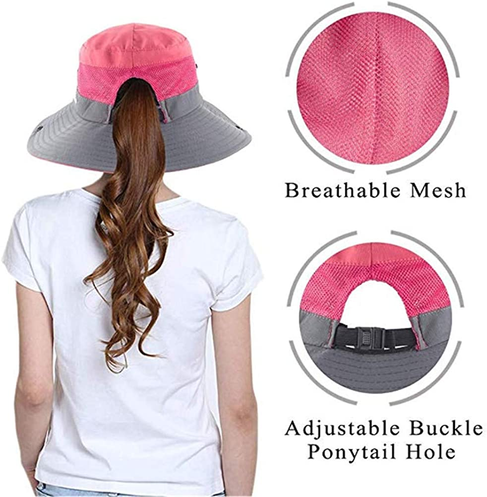 Womens UV Protection Sun Hats Wide Brim Beach Cap Bucket Hat with Ponytail Hole