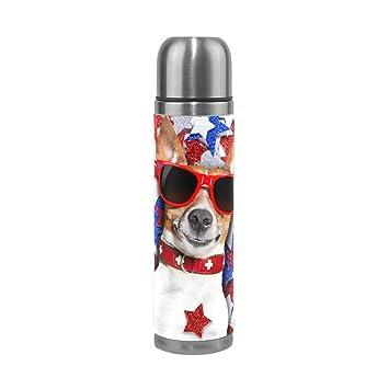 ALAZA Cool Perro sobre americano estrellas botella de agua ...