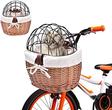 Cesta de bicicleta para perro, cesta delantera de bicicleta, cesta de sauce tejida para mascotas, cesta para perros y gatos: Amazon.es: Hogar