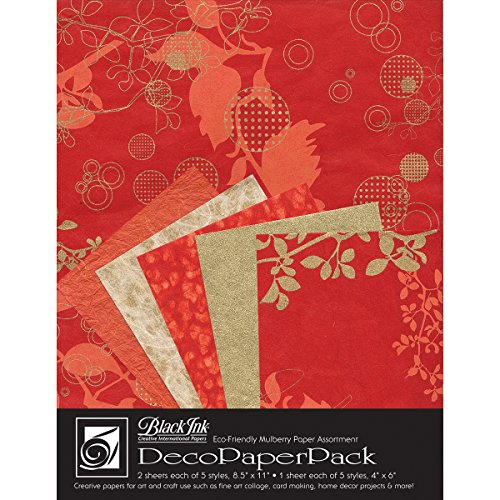 Black Ink Decorative Papers - Black Ink Decorative Paper Pack, 8.5 by 11-Inch, Chinaberry Red