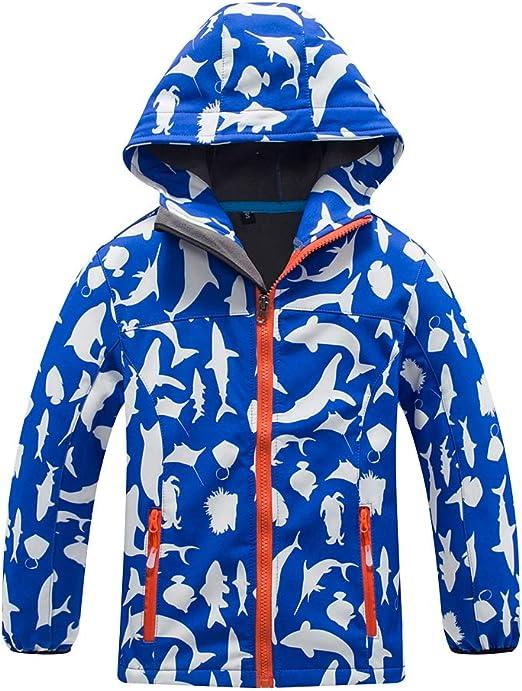 GLEAMING GRAIN Toddler Kids Waterproof Rain Jacket Little Boys Girls Hooded Raincoat Windbreaker