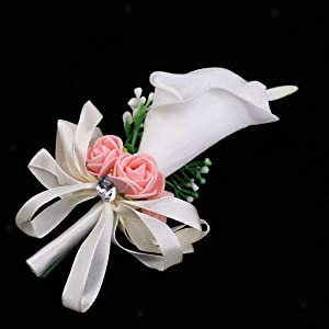 White Lily Artificial Flower Wedding Corsage Buttonhole Boutonniere Pin