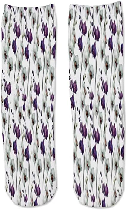 Mens and Womens Mid-Length Socks Blue Watercolor Lavender Petals Decorations are Perfect for Running and Fitness