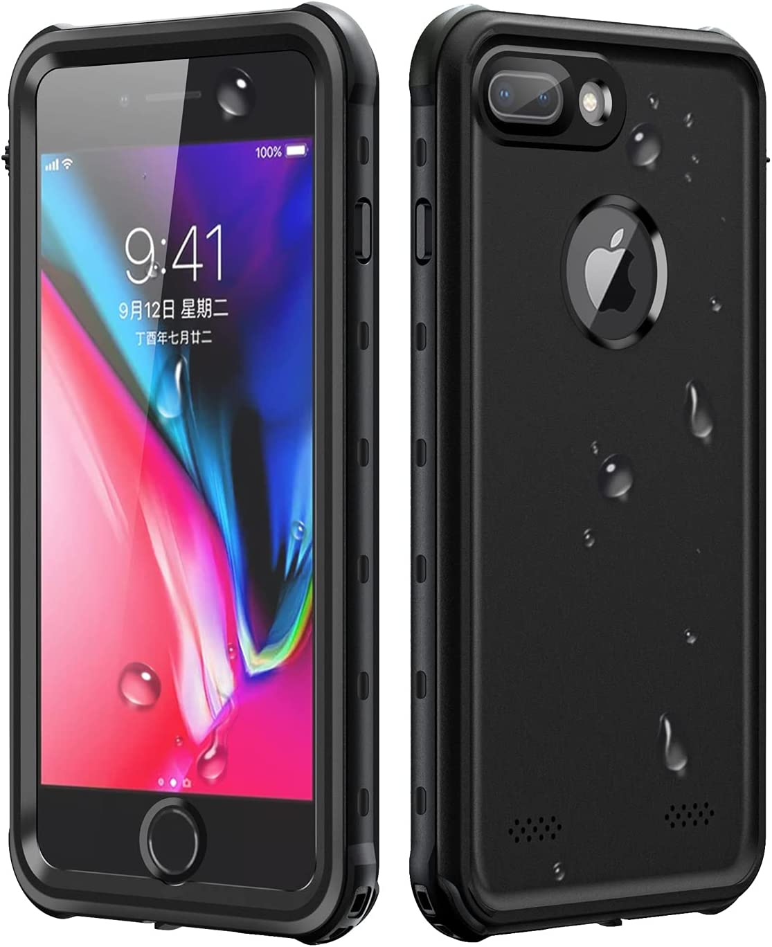 Lamcase for iPhone 8 Plus Waterproof Case, iPhone 7 Plus Waterproof Case, Built-in Screen Protector IP68 Underwater Sealed Full Body Protective Shockproof Snowproof Dustproof Clear Cover, Black/Clear