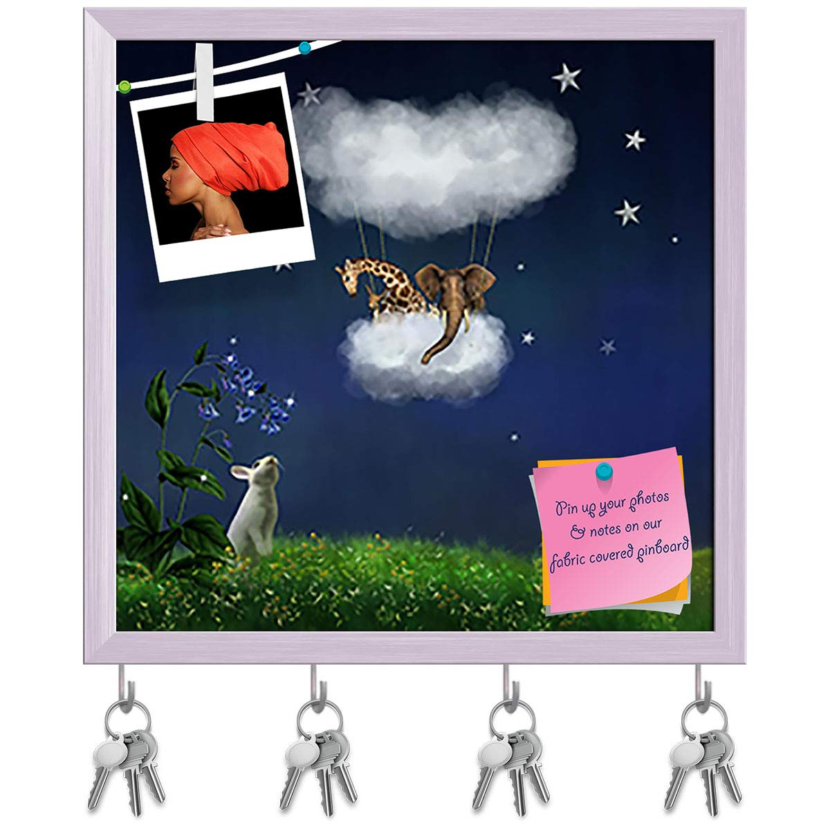 White Frame 16.2inch x 16inch (41.1cms x 40.6cms) Artzfolio Animals Floating in The Clouds Key Holder Hooks   Notice Pin Board   White Frame 16.2 X 16Inch