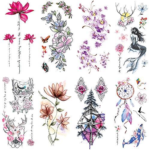 Yesallwas 8 Sheet cute Temporary Tattoo Sticker Fake Tattoos for Women Girls Models,Waterproof Long Lasting Body Art Makeup Sexy Tattoos -Flowers,rose,lotus,Mermaid,dreamcatcher,Sika deer,butterfly