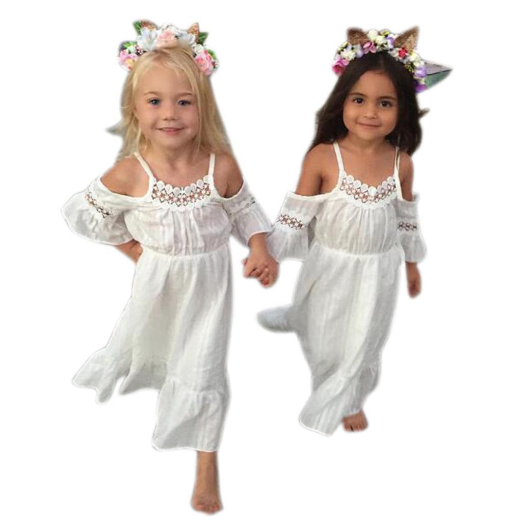 8b09c4f8d Amazon.com: Hemlock Baby Little Girl Long Dress Lace Off Shoulder Wedding  Party Dress (4T, White): Kitchen & Dining
