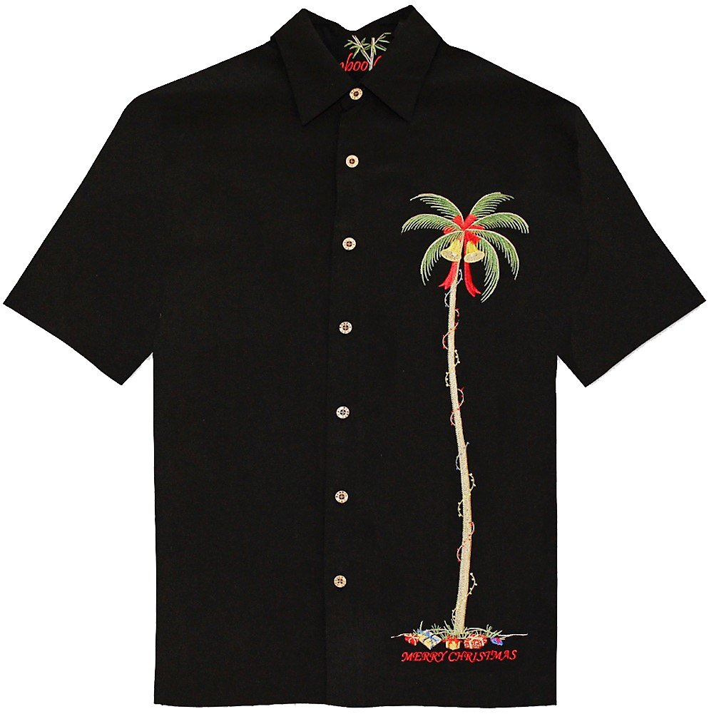 Bamboo Cay Men's Christmas Embroidered Palm, Limited Edition Camp Shirt (Large, Black)