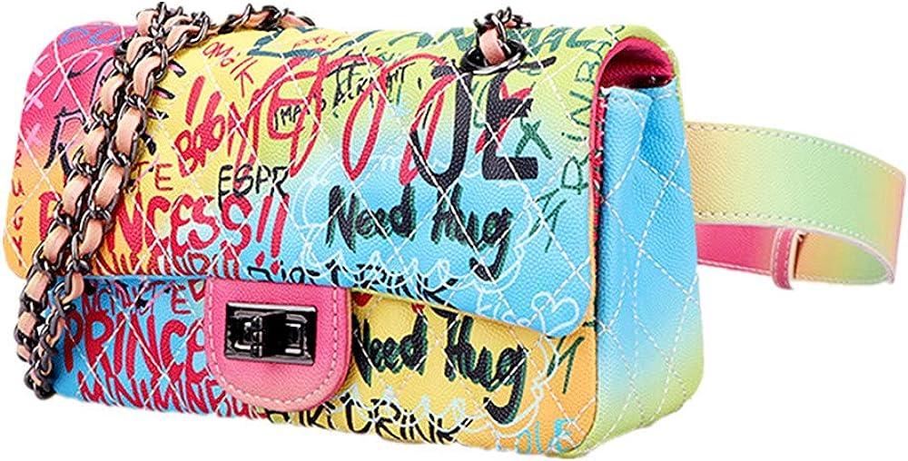XQXC bolso cruzado de diamantes, Bandolera con graffiti resaltar la elegancia de las mujeres de las sutilezas, para cumplir con el estilo cambiante de las niñas