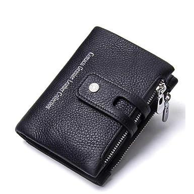 Männer Brieftasche Doppel-Reißverschluss Schnalle Leder Retro Crazy Horse  Leder Herren Tasche Casual Geldbörse ( 35f11eedf0