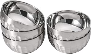 Dali New Design Non-Slip Stainless Steel Bowl Set Double-walled Insulated, 13oz Set of 5 Silver