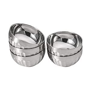 Dali New Design Non-Slip Stainless Steel Bowl Set Double-walled Insulated, 18oz Set of 5 Silver