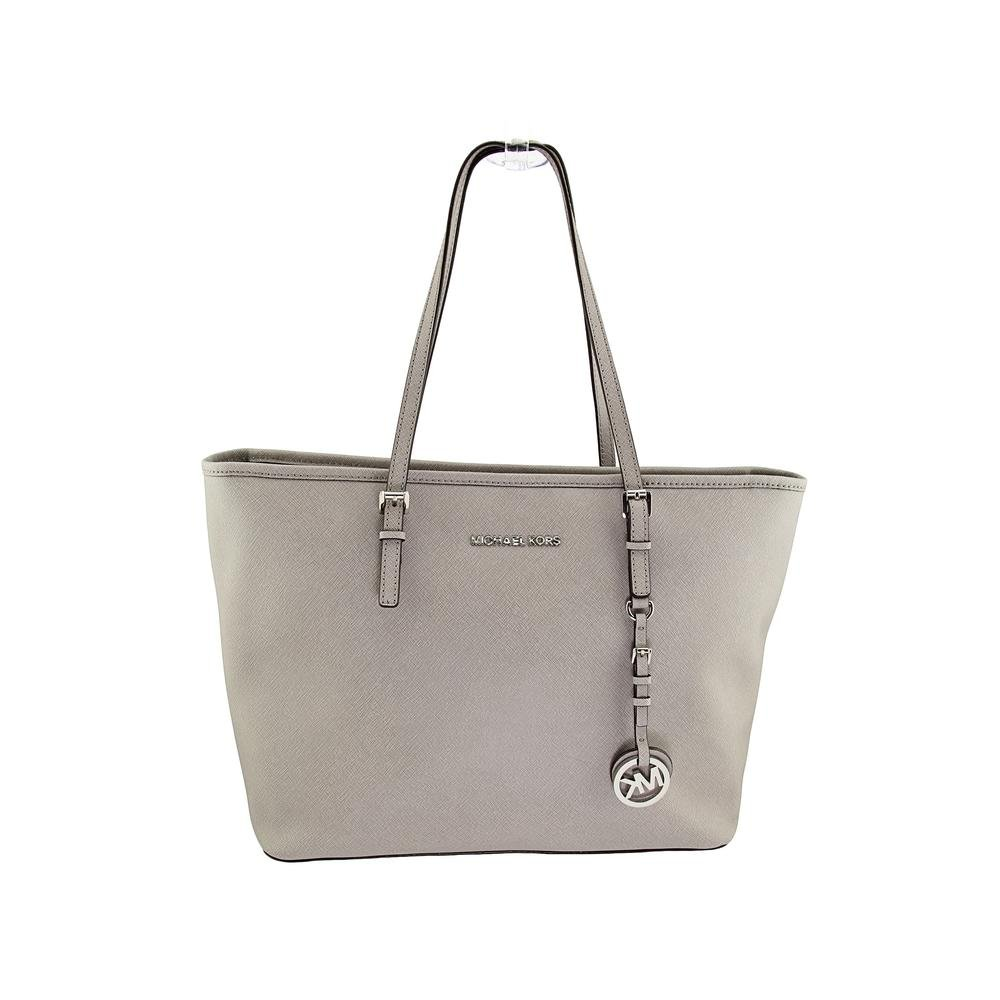 Michael Kors jet set travel T Z Tote pearl grey leather by Michael Kors (Image #1)