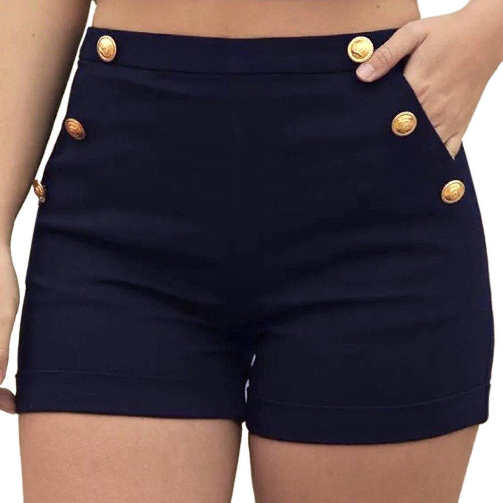 Women Yoga Pants,Jchen Ladies Fashion Casual Plus Size Zipper Elastic Band Hot Pants Summer Button Shorts Trouser (S, Navy)