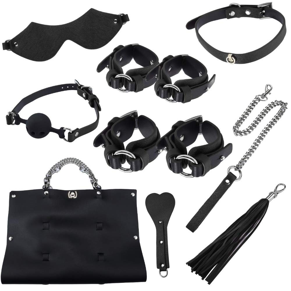 Spanking Paddle - Games bdsmm Bondage Kit 7pcs/Set Handcuffs Ankle Cuffs Mouth Gag Leather Whip Blindfold Spanking Paddleerotic Toys by DECOTSX