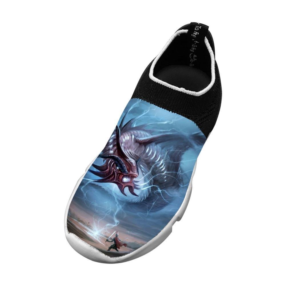 XieZbd Childrens Drawn Lightening Dragon 3D Print Fly Knit Sneaker Shoes
