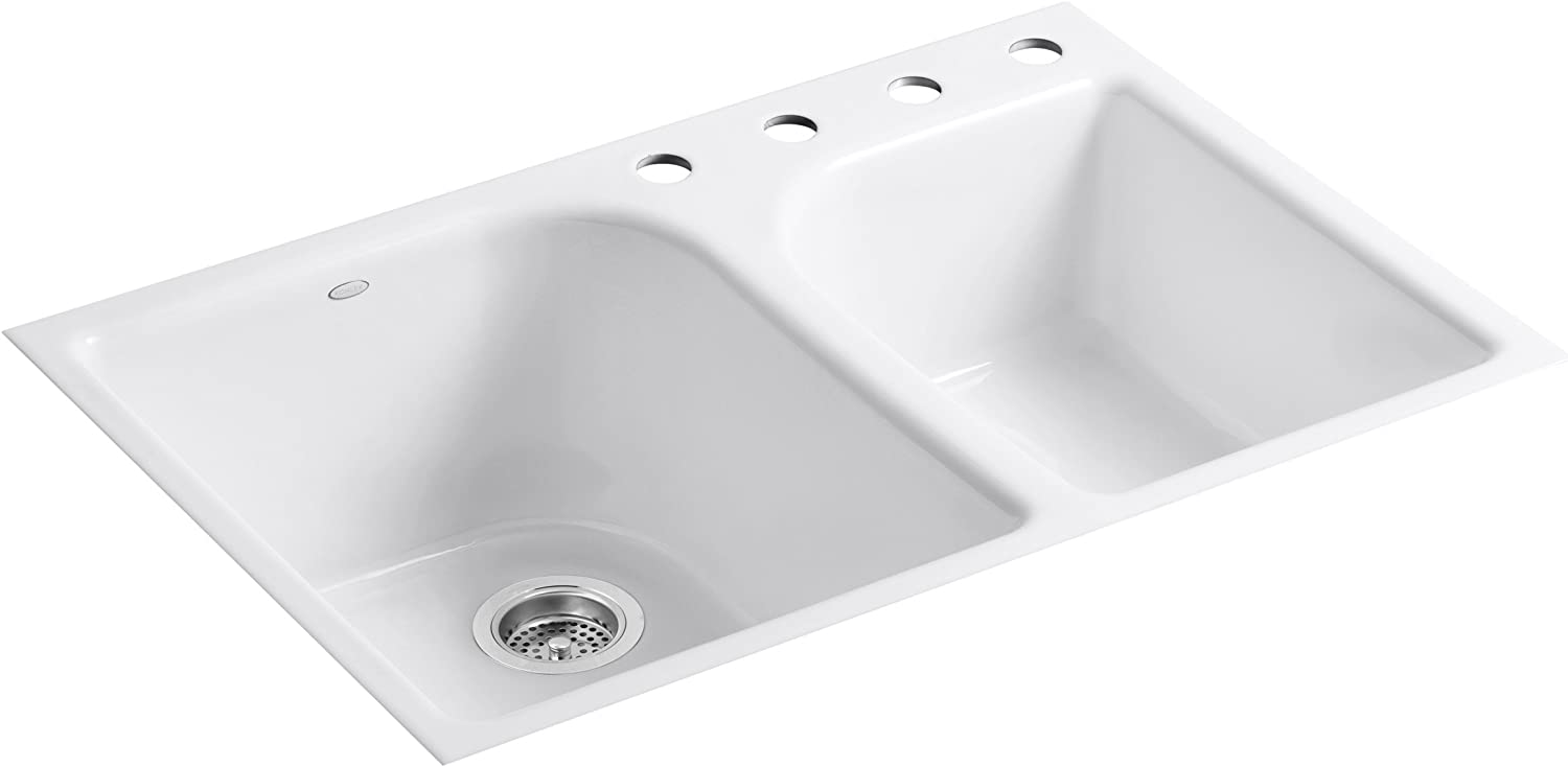 KOHLER K-5931-4-0 Executive Chef Tile-In Kitchen Sink, White
