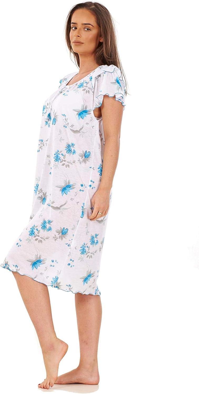 Apparel Ladies Poppy Floral Nightdress Cap Sleeve 100/% Cotton Short Nightwear M to XXXL