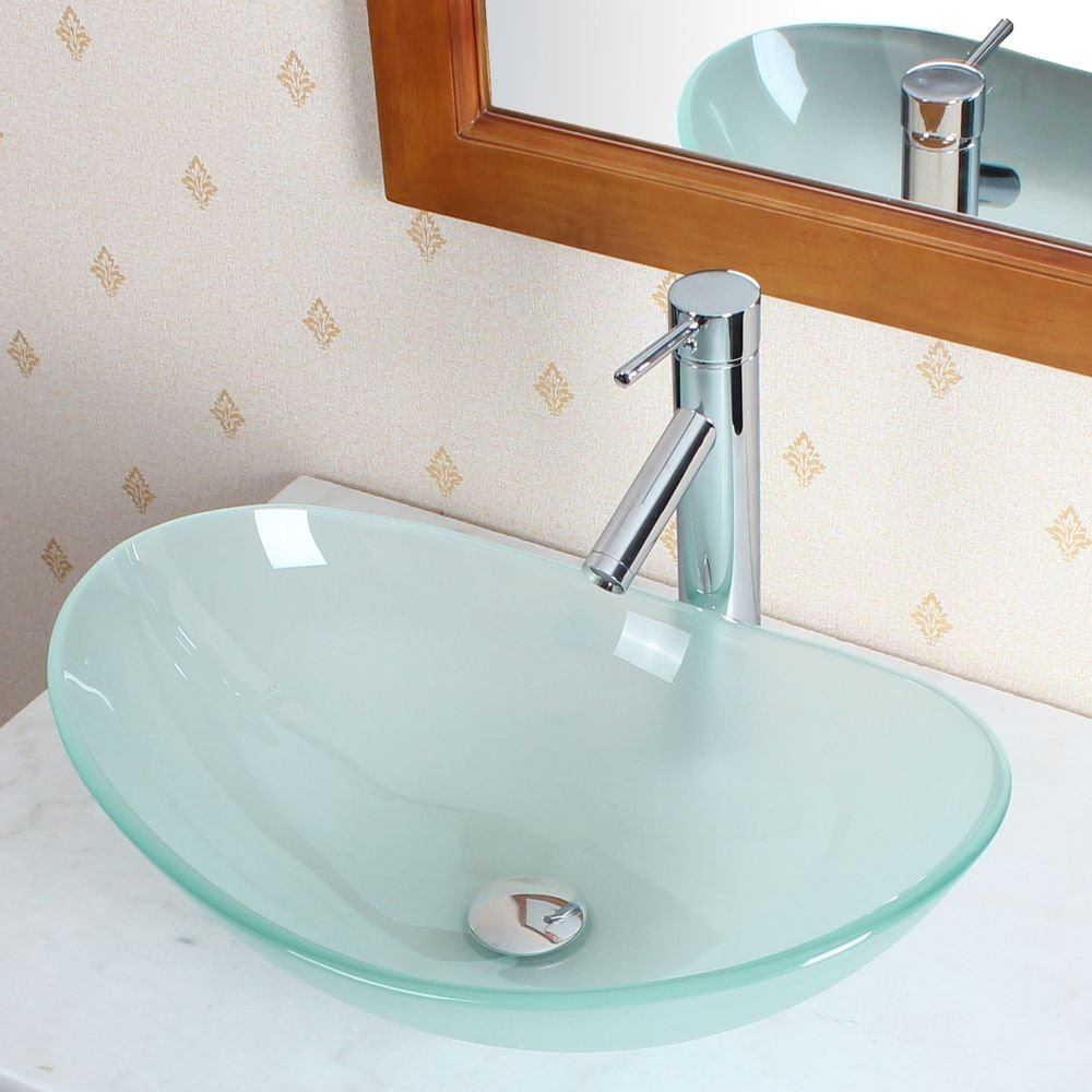 Elite Bathroom Boat Shape Frosted Glass Vessel Sink Chrome Single Lever Faucet Combo Chrome Pop up Drain