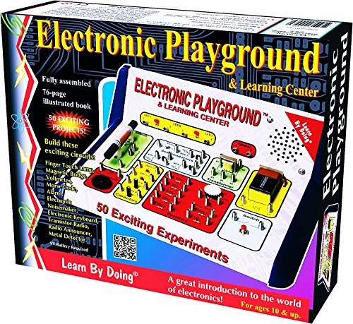 Electronic Playground 50-in-One For Ages 10+ A Great introduction to the Field of Electronics. Learn about Voltage, Capacitors, Transistors and the terms and procedures to use them. (Voltage Over Capacitor)