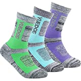 YUEDGE 3 Pairs Women's Women's Wicking Cushion Crew Socks Performance Workout Athletic Sports Socks (L)