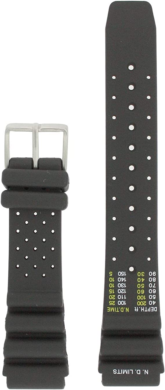 59-L7404 ORIGINAL GENUINE Citizen Aqualand Black Rubber Watch Band For Men's Dive Watch AY5020-08E