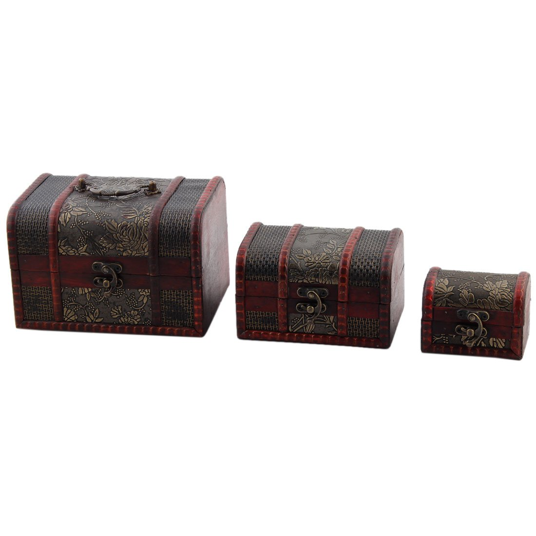 uxcell Flower Pattern Wood Household Retro Style Jewelry Storage Box Case 3 in 1 Dark Red