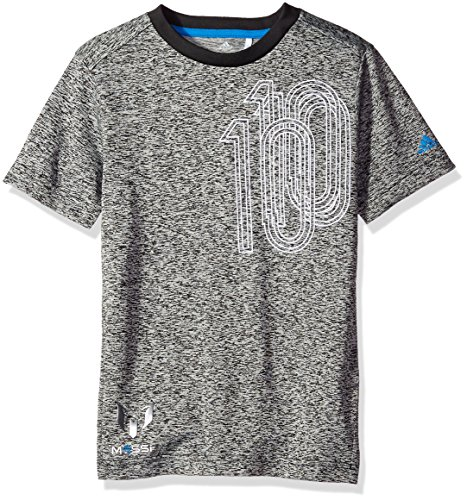 adidas Performance Youth Boys Messi Soccer Icon Tee, Black/Shock Blue, Small